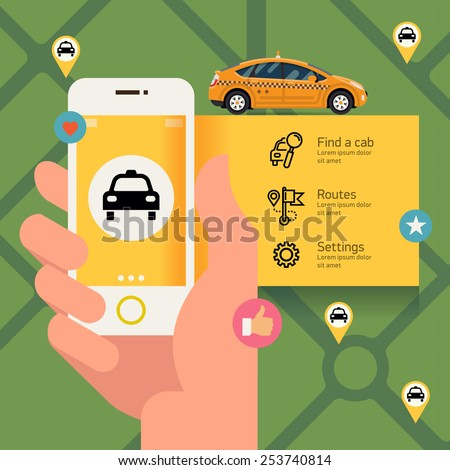 Vector modern flat creative infographics design on public taxi service application featuring yellow modern taxi cab | Male hand holding phone with taxi hire service application running