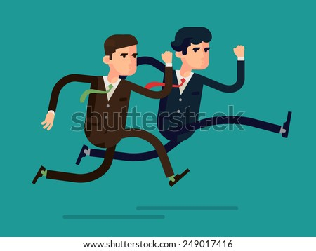 Vector modern flat design abstract illustration on running business people in rush competing | Two different businessmen competition run, isolated, full length | Leader and outsider dashing run