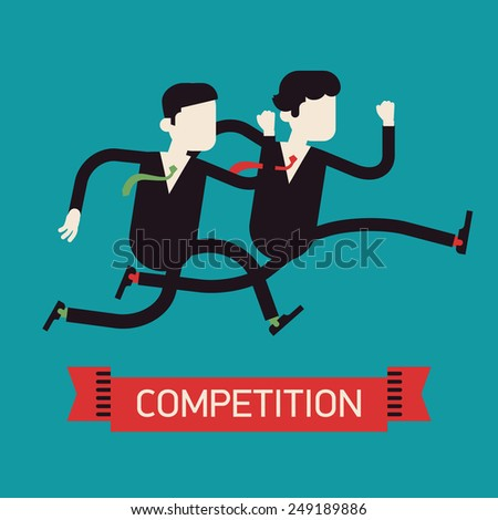 Vector modern flat design abstract web banner on competition in business and industry | Two different businessmen competition run | Rivals dashing
