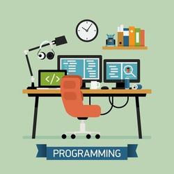 Vector modern flat design creative illustration on programming, coding, testing and debugging   Programmer workspace icon