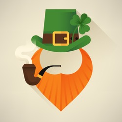 Vector modern flat design icon on Saint Patrick's Day character leprechaun with green hat, red beard, smoking pipe and no face