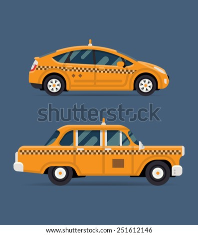 Vector modern flat design illustration on commercial transport retro taxi cab and contemporary modern eco friendly hybrid taxi cab, isolated, side view