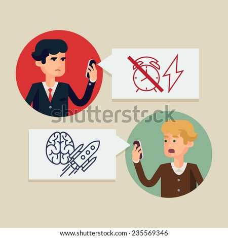 Vector modern flat design illustration on deadline approaching and urgent solution research | Digital media, mobile and social network usage in business and industry management