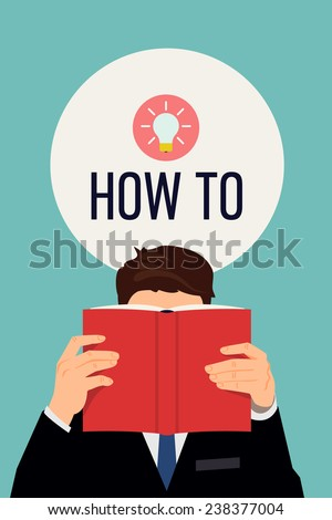 Vector modern flat design illustration on man reading the book that hides his face featuring big idea light bulb icon | Human male holding book with red empty cover with round bubble above his head