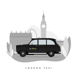 Vector modern flat design web icon on commercial transport London classic black taxi cab, isolated, side view. Retro hackney carriage black taxi automobile. London street big ben background.