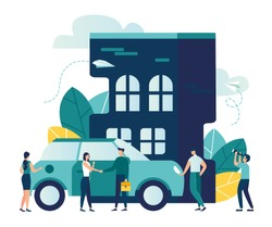 Vector modern flat illustration, concept of saving and investing money, investing in housing construction and buying a car vector