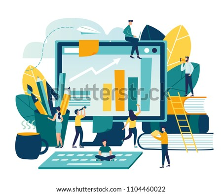 Vector modern flat illustration, concept of success, reach a goal, vector illustration of business, employees study infographics, analyze evolutionary scale, online training vector