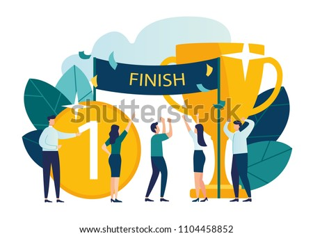 Vector modern flat illustration, concept of success, reach the goal, come first to the finish line, take the leadership positions, celebrate the victory, the first place with the medal and the gold cu