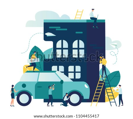 Vector modern flat illustration, construction and purchase of housing, arrangement of the street, car in the parking lot next to the house