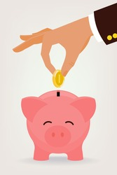 Vector modern flat illustration on hand putting coin into the money box | Happy piggy bank receiving a coin | Savings concept illustration