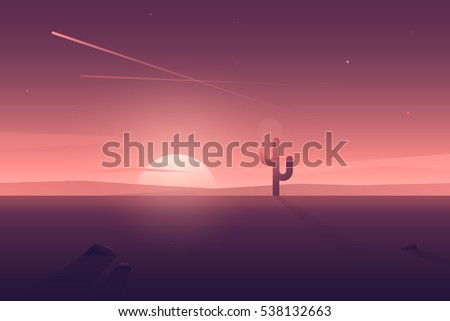 Vector modern flat landscape with  lonely cactus and long shadow. Illustration with sunset view in purple, violet and pink colors.