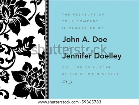 Vector modern floral frame. Perfect as invitation or announcement.  Pattern is included as seamless swatch. All pieces are separate. Easy to change colors and edit. - stock vector