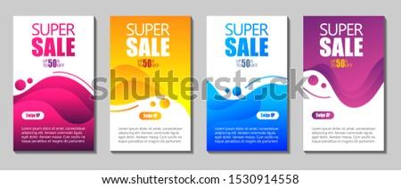 Vector Modern Fluid For Big Sale Banners Design. Discount Banner Promotion Template. Dynamic modern fluid mobile for sale banners. Sale banner template design, Super sale special offer set.