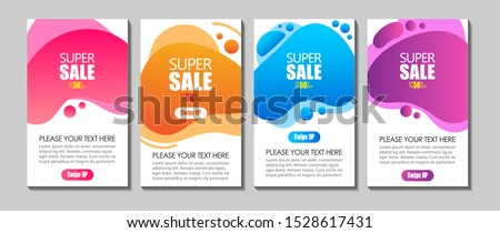Vector Modern Fluid For Super Sale Banners Design. Discount Banner Promotion Template. Dynamic modern fluid mobile for sale banners. Sale banner template design, Super sale special offer set.