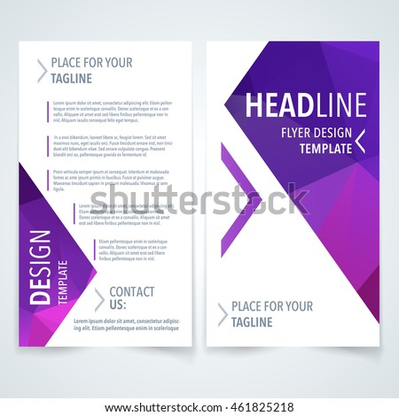 Vector modern flyer, poster or brochure design template with purple triangle texture on white background - Shutterstock ID 461825218