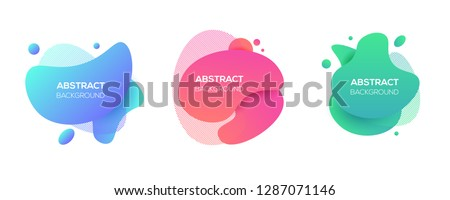 Vector modern futuristic cover elements set. Abstract dynamic geometric shapes, isolated on white. Trendy minimal colorful website and branding design. Cool poster background. #1287071146