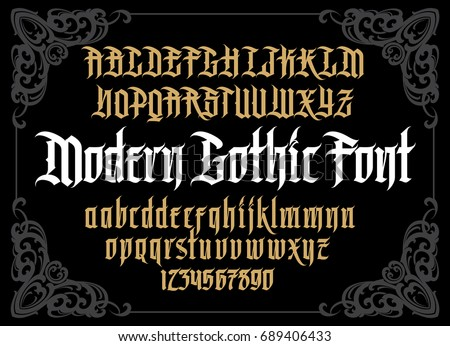 Vector modern gothic alphabet in frame. Vintage font. Typography for labels, headlines, posters etc.