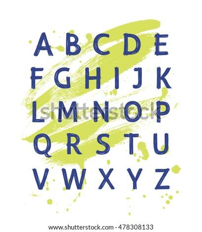 Vector modern hand written alphabet. Educational poster with latin alphabet letters. Alphabet uppercase letters written by marker.