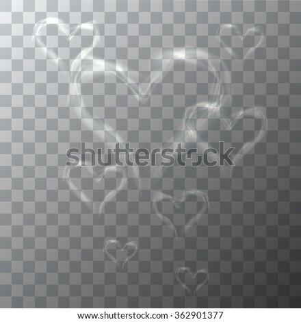 Vector modern heart from smoke on sample background. Eps10
