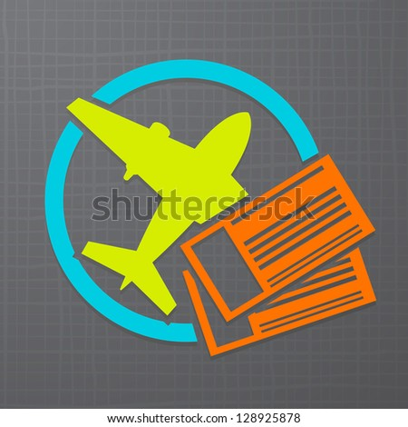 Vector modern icon with airplane and air tickets