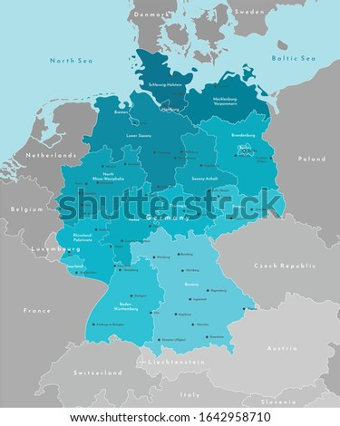 Vector modern illustration. Simplified geographical  map of Germany and nearest european states. Blue background of North and Baltic seas. Names of deutsch cities and provinces. Stock foto ©