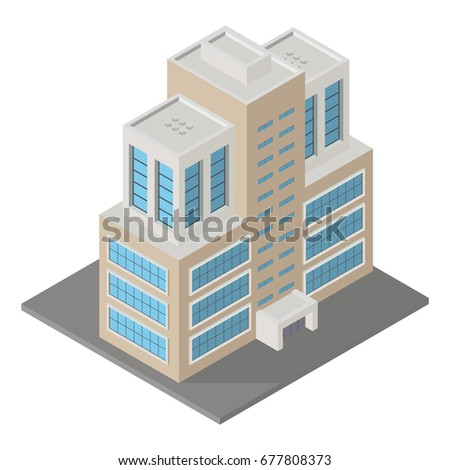 Vector modern isometric building, 3d element representing low poly building for city map creation, sites and games