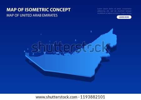 Vector modern isometric concept greeting Card map of United Arab Emirates on blue background illustration eps 10.