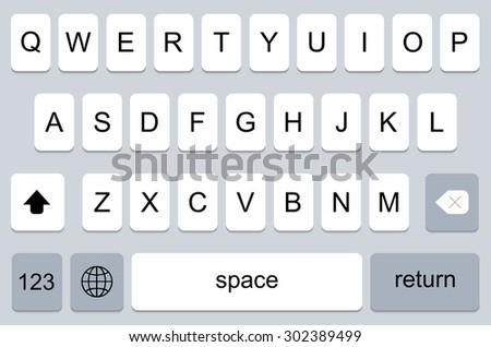 vector modern keyboard of smartphone, alphabet buttons