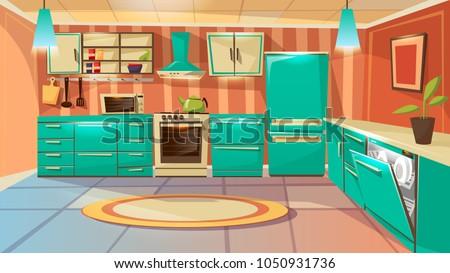 Vector modern kitchen interior background template. Cartoon dinner room illustration with furniture kitchen counter cupboard appliance fridge cooking stove microwave oven range hood washing machine