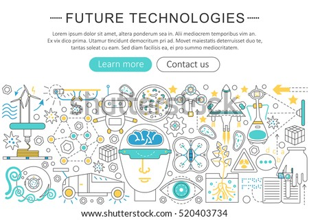 Vector modern line flat design Future technology concept. Future technology icons Website Header, app design poster banner