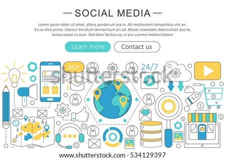 Vector modern line flat design Social media concept. Social media icons Website Header, app design poster banner