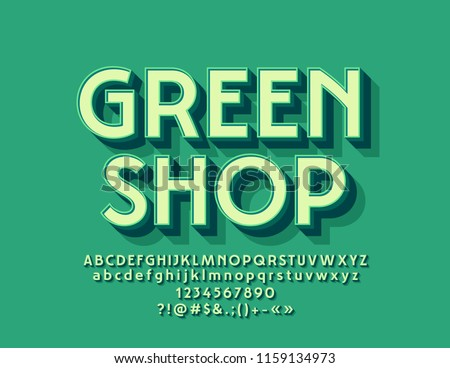 Vector Modern  Logo Green Shop with 3D Font. Beveled Alphabet Letters with Shadow