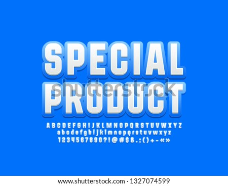 Vector modern logo Special Product with Font for Marketing and Advertising. Blue and White Alphabet Letters