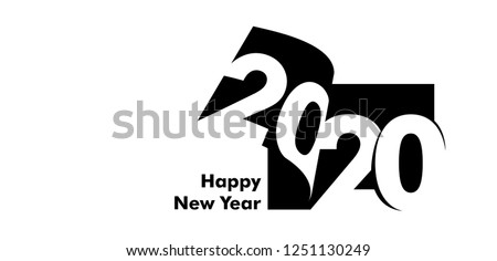 Vector modern minimalist Happy new year card for 2020 with main big numbers. Figures are placed on the pages of the magazine, books