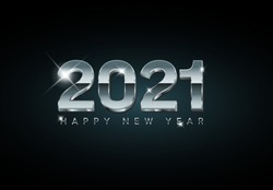 Vector Modern minimalistic Happy new year card 2021 with a big silver 3d year numbers