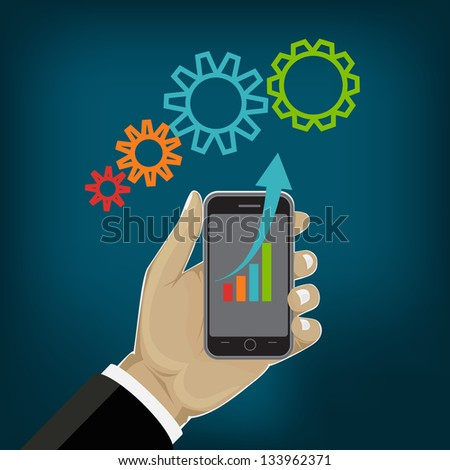 vector Modern mobile phone in hand and graph