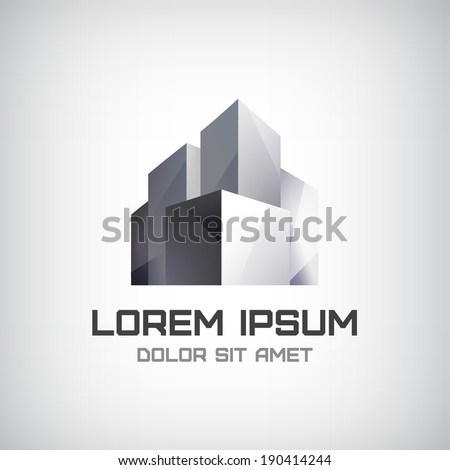 vector modern office building icon, logo isolated
