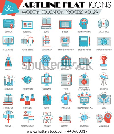 Vector Modern online education ultra modern outline flat line icons for web and apps.