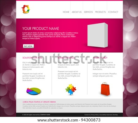 Vector Modern product homepage  template - Purple version