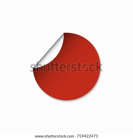 Vector modern red circle sticker with shadow. #759422473