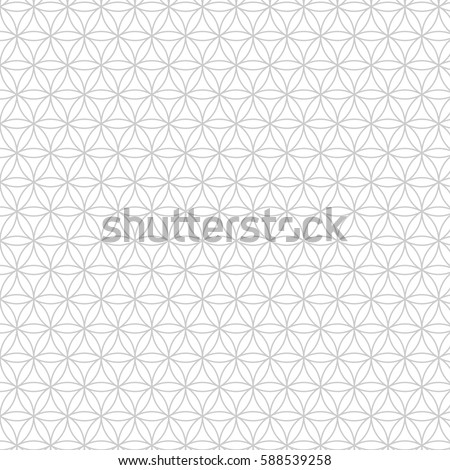 Vector modern sacred geometry seamless pattern, flower of life, design abstract texture, monochrome graphic print