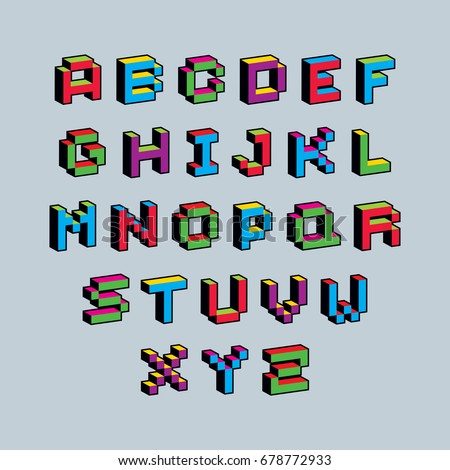 Vector modern tech alphabet letters set. Geometric pixilated digital font, 3d dotted 8 bit characters.