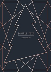 Vector modern template christmas card. Abstract christmas tree. Geometric rose gold pattern.