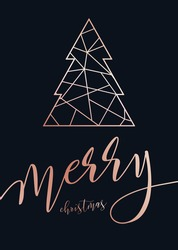 Vector modern template Merry Christmas card. Abstract geometric christmas tree. Rose gold pattern