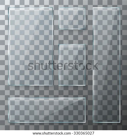 Vector modern transparent glass plates set on sample background. Eps10