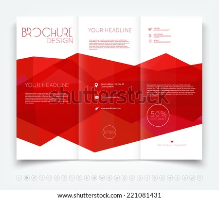 Vector modern tri-fold brochure design template with bright red polygonal background