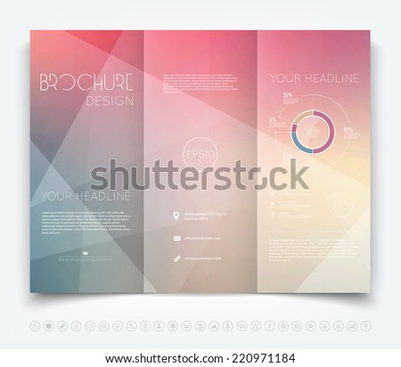 Vector modern tri-fold brochure design template with geometric background
