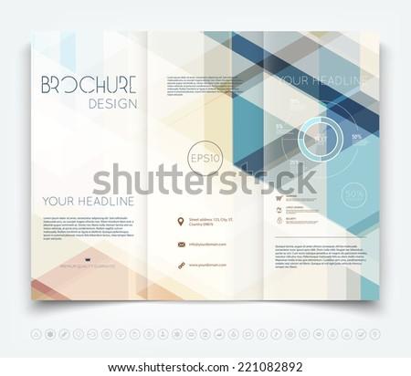 technical brochure template - vector modern tri fold brochure design template with hi