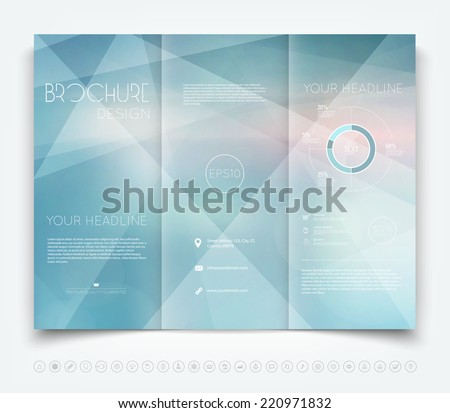 Vector modern tri-fold brochure design template with light blue geometric background