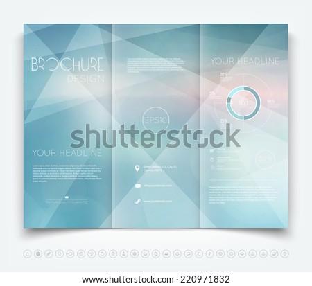 Vector modern tri-fold brochure design template with light blue geometric background